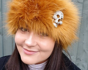 Diamante Skull on Mustard Headband / Neckwarmer / Earwarmer Handmade in Lancashire England