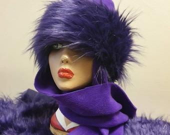 Frieda Scarf Hat.Purple Faux Fur Hat with Purple Fleece Top and Long Fleece Sides. Long Purple Fur with Full Polar Fleece Lining
