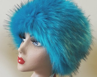 Kingfisher Blue Luxury Long Pile Faux Fur Hat with Cosy Polar Fleece Lining.
