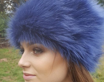 Vibrant Purple/Blue Faux Fur Russian Style with Cosy Polar Fleece Lining