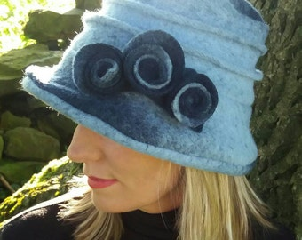 Light Shades of  Blue Felted Wool Hat With Cosy Fleece Lining and Flower Detail