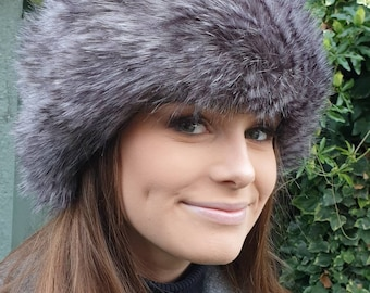 Shades of Grey Luxury Faux Fur Headband / Neckwarmer / Earwarmer Handmade in Lancashire England