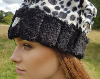 Animal Print Hat in Dalmation Faux Pony Skin with Furry Brim and Fleece Lining