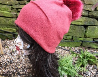 Deep Red Wool Blend Slouchy Hat with Large Red Pom Pom. Fully lined with Polar Fleece