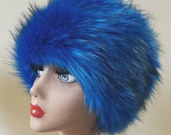 Cobalt Blue Long Luxury Faux Fur Hat with Cosy Polar Fleece Lining.