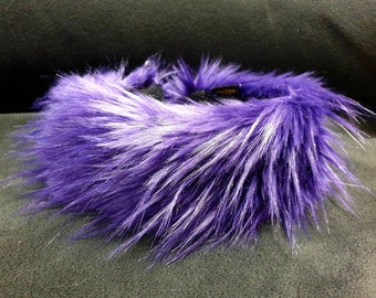 Extra Long Pile Purple  Faux Fur Headband-Purple Headband-Purple Fur Neckwarmer / Earwarmer Handmade in Lancashire England