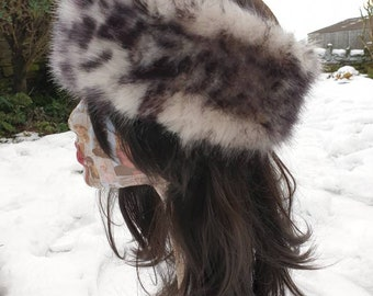 Snow Leopard Luxury Faux Fur Headband- Neckwarmer-Earwarmer-Leopard Fur-Fake Fur Headband-Leopard Print Headband-White Leopard-Animal Print