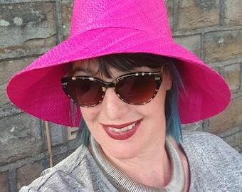 Fuscia Pink Raffia Cloche-20's Style Sun Hat-Medium Brim