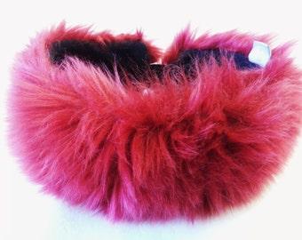 Beautiful Deep Red Faux Fur Headband / Neckwarmer / Earwarmer Handmade in Lancashire England