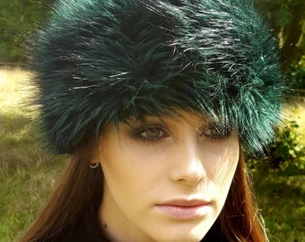 Emerald Green Faux Fur Headband / Neckwarmer / Earwarmer Handmade in Lancashire England