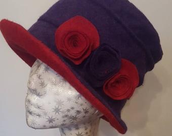 Fully Fleece Lined Handmade Purple and Red Woolfelt Hat
