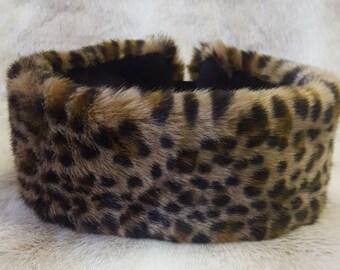 Lovely Leopard Faux Fur Headband / Neckwarmer / Earwarmer Handmade in Lancashire England