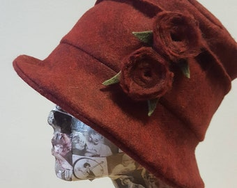 Deep Red Felted Wool Flower Hat with Cosy Fleece Lining