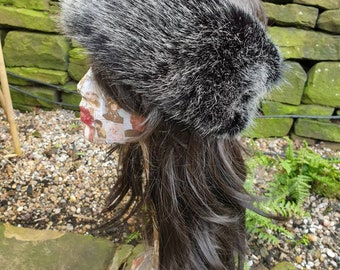 Posh Silver Black Luxury Faux Fur Headband- Neckwarmer-Earwarmer-Black Fur-Fake Fur Headband-Black Headband