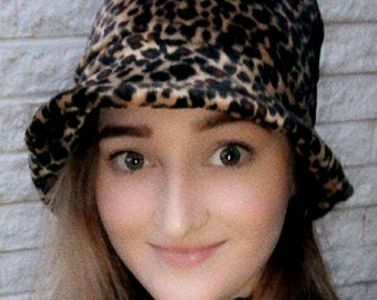 Leopard Print Short Faux Fur Bucket Hat-Fleece Lining-Furry Bucket Hat-Animal Print Bucket Hat-Festival Hat
