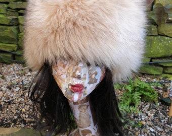 Beige Luxury Faux Fur Hat-Polar Fleece Lined-Fur Hat-Fake Fur Hat-Cream Fur Hat-Winter Hat-Long Fur Hat-Cossack Hat-Womens Russian Hat