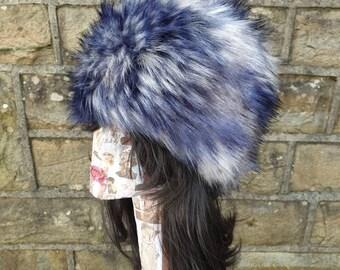 Extra Long Blue/Grey Faux Fur Hat- Cosy Polar Fleece Lining- Statement Piece-Russian Hat-Fur Hat-Fake Fox Fur-Fake Fur Hat-Winter