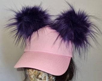 Baby Pink Pom Pom Baseball Cap- Purple Pom Pom's-Pink Baseball Cap-Double Pom Pom Hat-
