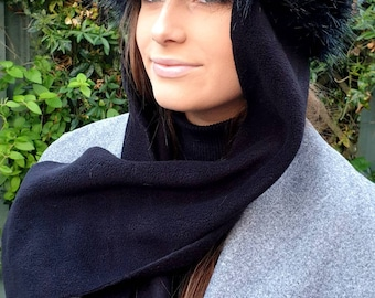 Frieda Scarf Hat. Faux Fur Hat with Fleece Top and Long Fleece Sides. Long Black with Full Polar Fleece Lining