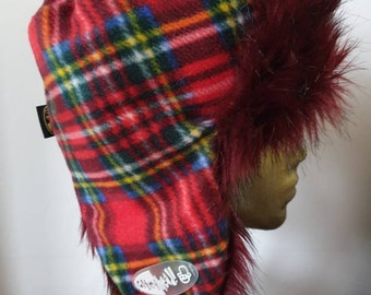 Red Tartan with Red Faux Fur and Polar Fleece Lining-Trapper Hat-Unisex Hat-Winter Hat-Fleece Hat