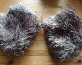 Grey Shades Luxury Faux Fur Cuffs- Faux Suede Lining- Elasticated One End-Wrist Cuffs-Faux Fur Cuffs-Fluffy Cuffs- Fur Cuffs-Jacket Cuffs