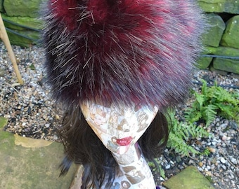 Red Fire Faux Fur Russian Style Hat with Cosy Polar Fleece Lining