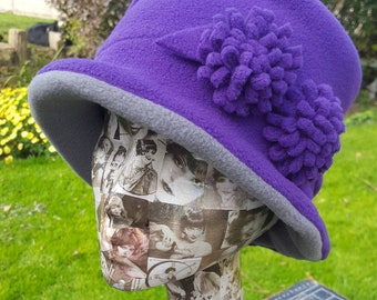 Handmade Purple and Grey Fleece Hat With Cosy Fleece Lining and Purple Fleece Flowers