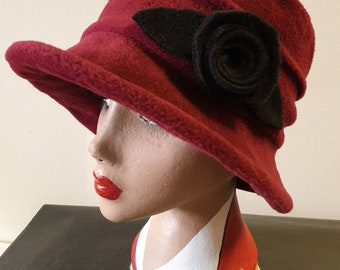 Deep Red/Burgundy/Black Fleece Hat-Polar Fleece Lining-Downton Abbey Hat-Womens Fleece Hat-Womens Fleece Winter Hat-1930's-Ladies Winter Hat