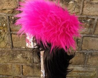 Shocking Pink Faux Fur Headband-Neckwarmer-Earwarmer-Handmade in England-Fake Fur Headband-Fur Headband-Head Wrap-Fur Head Wrap