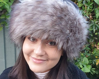 Fleece Top Faux Fur Hat with Full Polar Fleece Lining