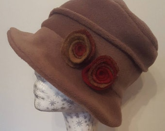 Handmade Camel Coloured Fleece Cloche Hat with Flower Detail. Fully Fleece Lined.