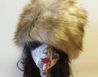 Sherry Fox Faux Fur Hat with Cosy Polar Fleece Lining-Fur Hat-Fake Fur Hat-Winter Hat-Long Fur Hat-Cossack Hat-Beige Fur Hat-Light Brown Fur