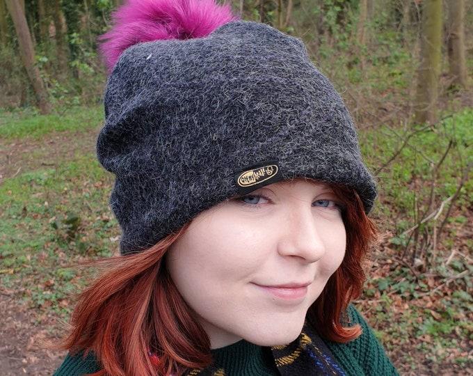 Featured listing image: Grey Wool Slouchy Hat with Large Magenta Pom Pom  Fully lined with Polar Fleece