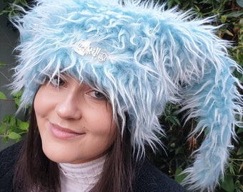 Long Blue Faux Fur Hat- Polar Fleece Lining-Aprés Ski-Womens Winter Hat-Faux Fur Hat- Ski Hat-Fur Hat-Womens Fleece Hat-Winter Hat-Mad Hat