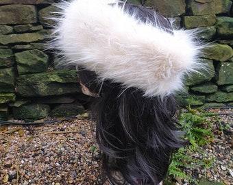 Stunning Creamy Luxury Faux Fur Headband with Brown Tips-Fur Headband-Neckwarmer-Cream Fur-Fake Fur Headbandr-Head Wrap-Fur Head Wrap