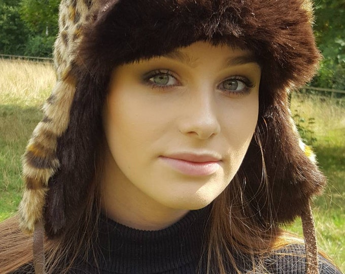 Featured listing image: Leopard Print Trapper with Chocolate Faux Fur and Fleece Lining