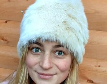 Cream Tones Faux Fur Pom Pom Hat-Fully Lined with Polar Fleece-Pom Pom-Fake Fur Hat-Cream Hat-Ladies Winter Hat-Fleece Hat