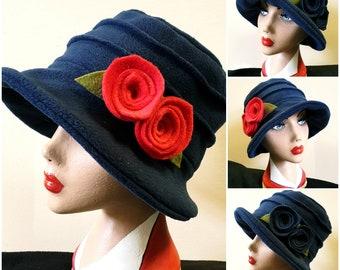Navy Blue Fleece Hat-Polar Fleece Lining-Downton Abbey Hat-Womens Fleece Hat-Womens Fleece Winter Hat-1930's-Ladies Winter Hat-Blue Fleece