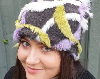 Purple, Grey and Lime Green Fleece Slouchy Hat with Large White Pom Pom.Fully lined with Polar Fleece