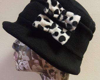Black Cloche Hat In Cosy Polar Fleece-Dalmation Bows-Downton Abbey Hat-Womens Fleece Hat-Womens Fleece Winter Hat-1930's-Ladies Winter Hat