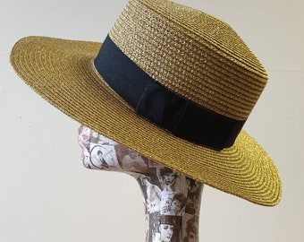 Beautiful Gold Glitter Boating Hat with Medium Width Brim