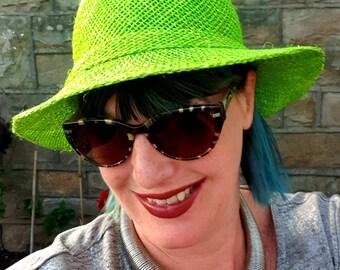 Lovely Lime Green Sun Hat-Raffia and Sisal Mix-Raffia Sun Hat
