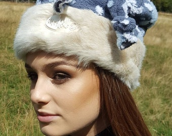 Winter Snowflake Hat with Furry Brim and Fleece Lining