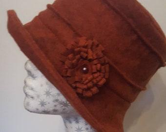 Fully Fleece Lined Burnt Orange Wool Felt Hat with Flower Detail.