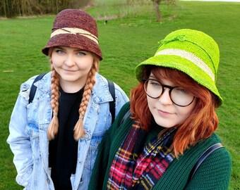 Crochet Raffia Hat in Chestnut Brown or Lime Green