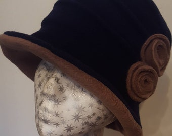 Stylish 20's Style Navy and Camel Cloche Fully Fleece Lined-Downton Abbey Hat-Womens Fleece Hat-Womens Fleece Winter Hat-Ladies Winter Hat