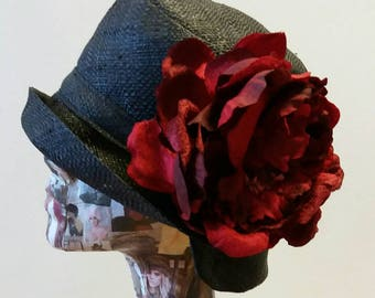 Black Raffia Cloche 20's Style Sun Hat with Large Red Peony