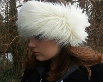 Cream Mongolian Faux Fur Headband / Neckwarmer / Earwarmer Handmade in Lancashire England