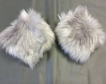 Luxury Faux Fur Cuffs in Steel Grey- Faux Suede Lining- Elasticated-Fur Cuffs-Wrist Cuffs-Faux Fur Cuffs-Fluffy Cuffs-Grey Cuffs