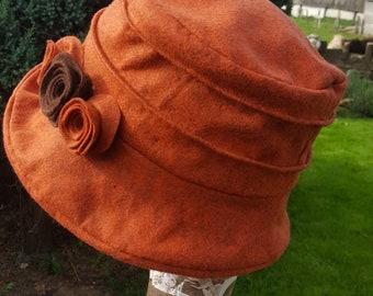 Burnt Orange Wool Felt Hat-Flower Detail-Fully Fleece Lined-Downton Abbey Hat-Womens Fleece Hat-Womens Fleece Winter Hat-Ladies Winter Hat